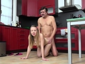 hairy mature kitchen sex