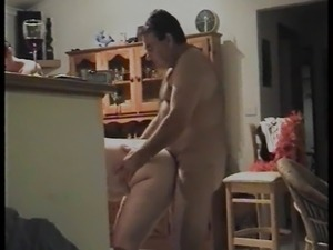 sexy blonde couple kitchen fucking