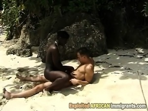 A naughty black babe moans like a bitch in this outdoor