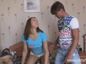 Tight-bodied cutie enjoys getting banged while her boyfriend watches