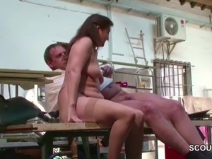 German MILF Mom in Stockings Seduce to Fuck Public