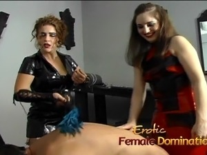 Kinky dude enjoys a hard spanking by two hot mistresses