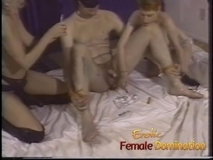 Unlucky slave gets his ass dominated by three stunning