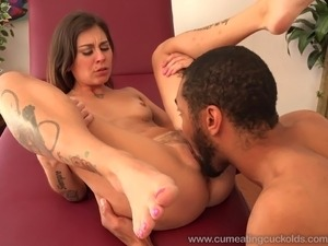 Kacie Castle Loves To Shove a Black Cock in Hubby's Mouth