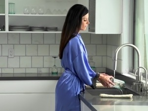 lesbian sex at kitchen