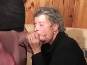 Nice old granny sucking cock and getting a hard fucking