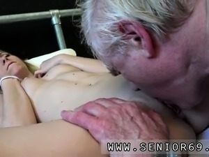 Old man sucking boobs