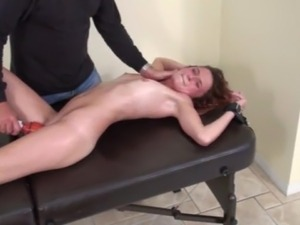 young blonde using vibrator