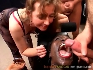 White bitch shares jizz with hot ebony