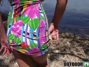 Amazing babe Ayla Swinger gets fucked by the river