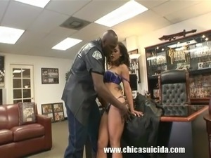 White Whore Fucks Big Black Cock In The Office