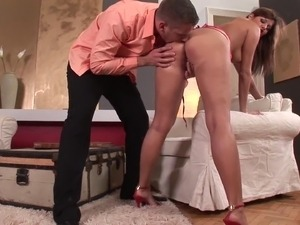Glamorous cowgirl in sexy lingerie and high heels getting her butt hole...