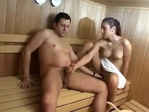 Naked girls in a sauna