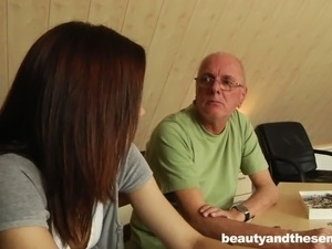 young girl dominates old man