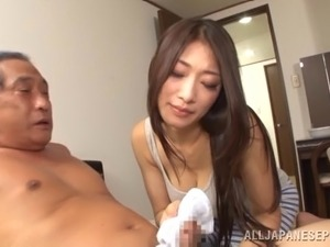 Stunning Asian cougar with long hair giving her gentleman blowjob in reality...