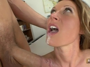 young amateur tries to swallow