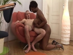 Busty black mom seduces a white boy