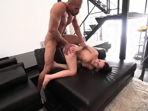 Sexy slender brunette nympho getting drilled rough by two black bulls