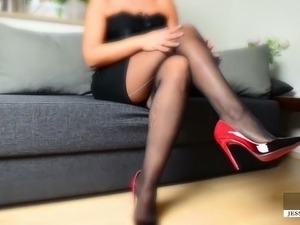 sexy busty shaved pussy nylons thumbs