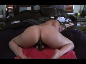 skinny girl riding anal dildo