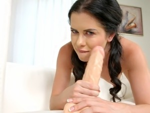 Solo brunette cougar with shaved pussy anal toying