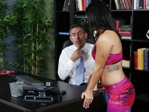 Seduced brunette with hot ass getting fucked missionary in the office