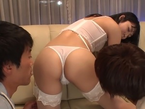 Two dudes fuck sexy Asian chick in stockings Reo Saionji and make her pussy...