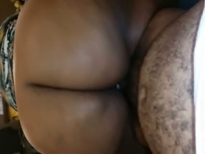 Ardent big racked black hottie was bent over and fucked brutally doggy style