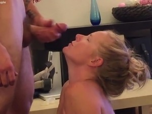 Super hot ginger MILF taking facials