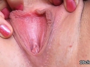 spread pussy close up