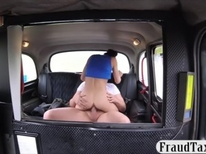 Tight brunette babe sucks off and banged in the taxi