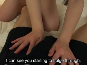 Subtitled uncensored pale Japanese amateur blowjob in HD