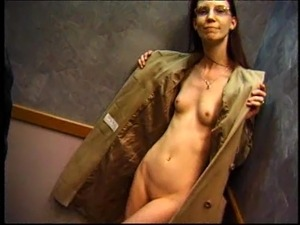 Skinny redhead shows off her shaved pussy in public