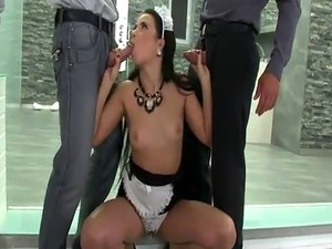 maid blackmail breasts he spread her