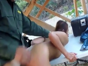 Hot police woman and strip Brunette gets pulled over for a cavity sear