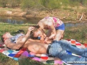 Cute teen Beata having crazy sex fun with her boyfriend outdoor