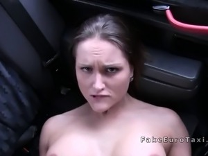 Huge tits tattooed blonde bangs in fake taxi