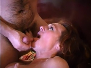 Pierced pussy MILF in stockings fucked with strap-on dildo