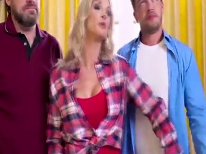 Beautiful Hot Blonde Synthia Fixx meets her stepson Kyle Mason