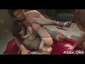 Bewitching japanese trio sex