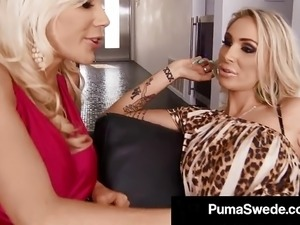 Blonde Babes Puma Swede & DD Ventura Fuck A Cock for A Meal!