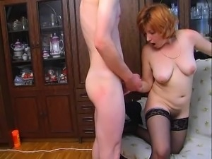 Young guys fuck mature redhead busty slut