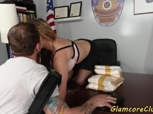 police woman lesbian playing with girl