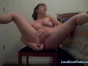 Busty housewife dildoing her ass on webcam