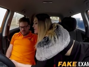 horny british slut riding cock to pass her driving test