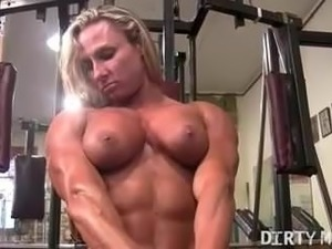 Muscle man masturbating