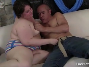 Jolly BBW Brunette Babe Fucked By A Big Cock