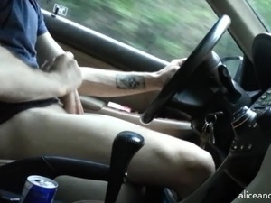 girl gives blowjob in car