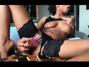 Cute curly brunette solo webcam masturbation