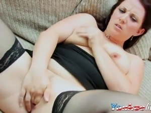 homemade, chubby wife fingers her pussy
